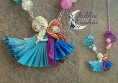 Anna and Elsa necklace by Nakihra Fimo Creations, via Flickr