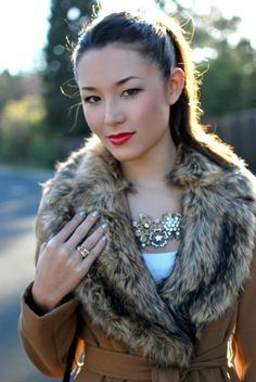 fur and red lips