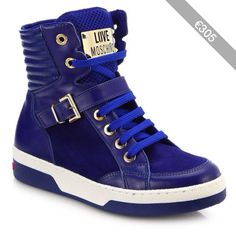 Love Moschino Leather & Suede High-Top Buckle Sneakers