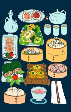 Dim Sum Lunch | iPhone 6s - Snap Turkey Fruit Platter, Chinese Food, Steamed Buns, Graphic, Cute Illustration, Chinese Drawings, Logo Food, Dim Sum, Food Drawing