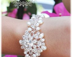 Pulsera novia perlas blanco Fresh Water perlas de por adriajewelry