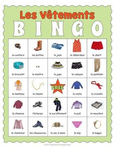 Printable French Clothing Bingo - Les vêtements by Drag Drop Learning Learn French Fast, Learn To Speak French, French Articles, French Resources, English French Dictionary, Bingo For Kids, Study French, Fun Classroom Activities, French Verbs