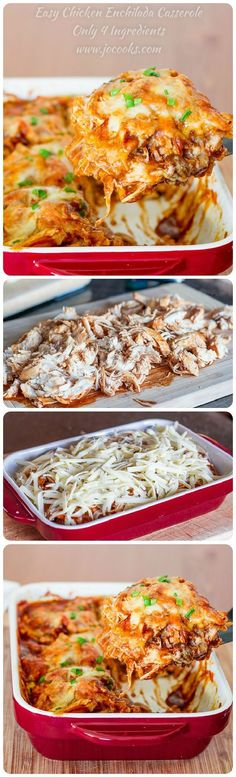Easy Chicken Enchilada Casserole – 4 ingredients is all it takes to make this popular Mexican dish. It's cheesy, it's spicy, it's sinfully delicious. (Easy Meal To Make Chicken Recipes) Easy Chicken Enchilada Casserole, Enchilada Sauce, Chicken Enchiladas, Mexican Casserole, Enchilada Recipes, Comida Latina, Easy Food To Make, Easy 5, Mexican Dishes