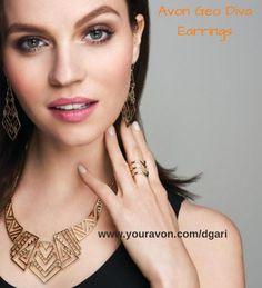https://www.avon.com/product/geo-diva-earrings-58297?rep=dgari&utm_content=buffer25fd1&utm_medium=social&utm_source=pinterest.com&utm_campaign=buffer NEW! Buy the matching necklace & ring! #earrings #jewelry #fashionaccessories #fashion #necklace #rings #avon