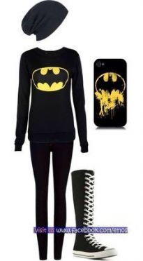 Now this is my kind of outfit but the beanie is missing the batman symbol. It also needs a cape and I would wear my batman high-tops when I get them. For my birthday or christmas I want to get a full batman outfit. Scene Outfits, Emo Outfits, Casual Outfits, Rock Outfits, Party Outfits, Party Dresses, Emo Fashion, Fashion Outfits, Womens Fashion
