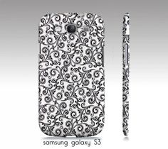 "samsung galaxy S3, iphone4, 4s, 5 phone case, ""black and white swirls"" photograph, damask"