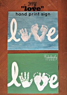 "Use your child's hand and foot print to make a ""love"" sign. This art project makes an adorable keepsake, great for Valentines or any occasion."