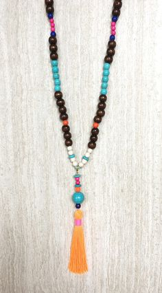 Boho Wood Bead Necklace with Mix and Match Tassel