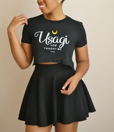 """""""Usagi Taught Me"""" Black Short sleeve women's cropped t-shirt - Adorned By Chi"""