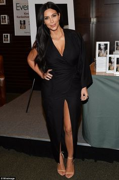 A lot to look at: Kim Kardashian looked like a cool customer as she stopped by Barnes & No...