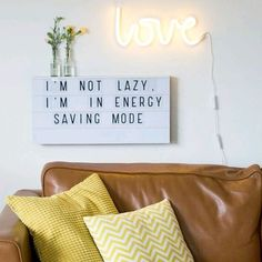 'Love is in the air' with this super trendy light in neon style! This LED-light is an energy efficient and durable version of the popular neon light. It is made of plastic and can therefore be used safely in kids rooms. The light operates with a built in Light Box Quotes Funny, Light Quotes, Citations Lightbox, Neon Lights Bedroom, Neon Licht, A Little Lovely Company, Licht Box, Lampe Decoration, Led Light Box