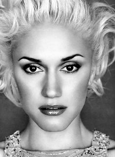 Gwen Stefani- make-up, even though it's in Black and White