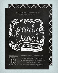 DIY Printable Wedding Invitation Blackboard Love - 4 pieces. $95.00, via Etsy.