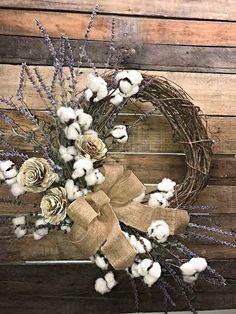 Farmhouse Wreath Lavender and Cotton Bolls Rustic Wreath Everyday Wreath Decorative Wreath Cotton Bolls Wreath Farmhouse Décor Rustic Décor Wall Wreath Interior Farmhouse Wreath Front Door Wreath Front Door Christmas Decorations, Wreaths For Front Door, Wall Decorations, Wreath Crafts, Diy Wreath, Wreath Ideas, Burlap Wreath, Fall Wreaths, Christmas Wreaths