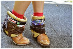 slightly crazy, mostly awesome belt wrapped boots would be soo fun to decorate!!