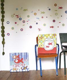 Tableaux chambre d'enfant et bébé : Les petits poissons