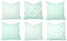 Mint Pillow Covers Mint Green and White par CastawayCoveDecor