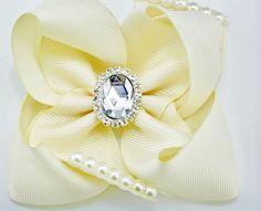 Diamond Ice Ivory Hair Bow