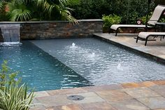 Inspiring Swimming Pool Deck Ideas With Stone And Pavers Inspiring swimming pool decks ideas with stone and pavers swimming pool decks ideas with stone and pavers Small Swimming Pools, Small Pools, Swimming Pools Backyard, Swimming Pool Designs, Backyard Landscaping, Backyard Ideas, Lap Pools, Indoor Pools, Swimming Pool Fountains