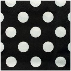 Black Velvet Polka Dots Lunch Napkins (16)
