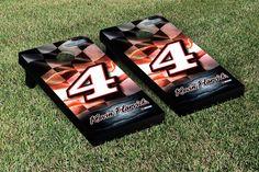 Our NASCAR KEVIN HARVICK #4 CORNHOLE GAME SET RACING FLAG VERSION. Get your custom set at victorytailgate.com