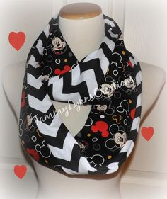 Mickey Scarf made from Mickey Mouse Fabric Black Red Infinity Scarf Black Chevron Scarf Valentine's Women's and Children Accessories by tammylynnscreations on Etsy https://www.etsy.com/listing/219221429/mickey-scarf-made-from-mickey-mouse