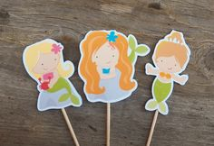 Mermaid Party - Set of 24 Assorted Mermaid Cupcake Toppers by The Birthday House. $12.00, via Etsy.