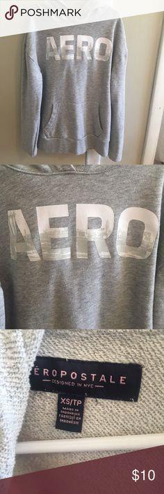 Aeropostale hoodie grey hoodie with AERO letters. great condition Aeropostale Tops Sweatshirts & Hoodies