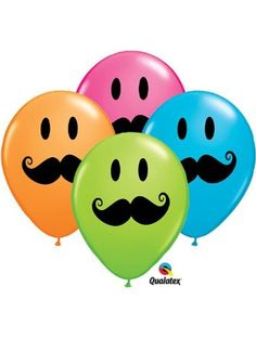 """11"""" Smile Mustache Assorted Latex Balloons - Package of 12 ❤ Qualatex"""