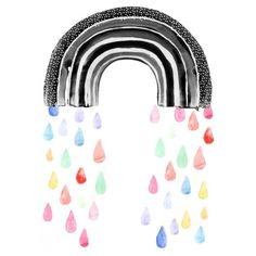 Wonder & Rah Rainbow Rain Poster - A3