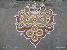 Rangoli 7 to1 straight dots.: Rev's new type chikku, deepam kolam. by revathiilango