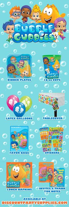 8 Favorites from the new Bubble Guppies theme! http://www.discountpartysupplies.com/girl-party-supplies/bubble-guppies-party-supplies-2