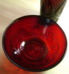Vintage Ruby Red Glass and Bowl Set by Luminarc by theevintageshop, $12.95