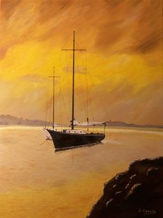 """Oil painting titled """"Anchored Sailboats"""", done on an 18"""" x 24"""" x 3/4"""" canvas. Not available."""