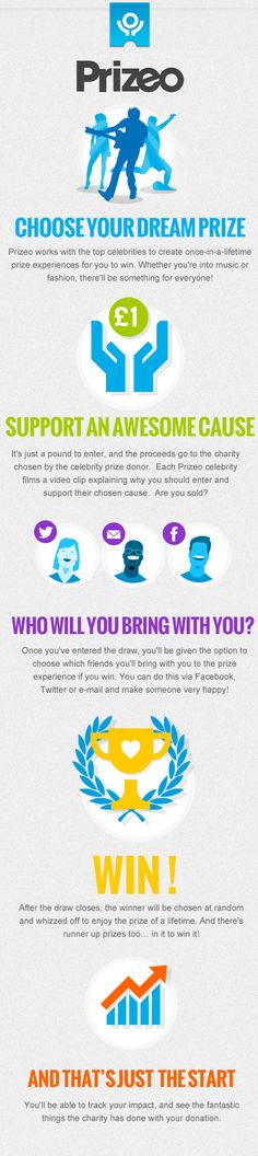 Prizeo is brand new way to win amazing money-can't-buy prize experiences from your favourite celebrities, in aid of some of the best causes. It's just £1 to enter a prize draw, and you can enter as many times as you like! Taking part couldn't be easier, and you can choose which friends you'll bring with you to the prize experience if you win, and share this with them on social media. Prizeo is shaking up the world of fundraising!