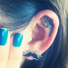 moustache, nail polish, tinkerbell