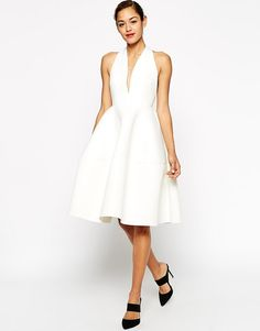 Image 4 ofASOS Premium Scuba Backless Halter Full Midi Dress
