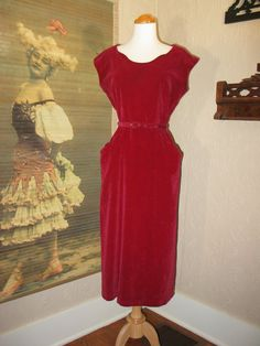 Ruby Red vintage 50's June Fox Frocks velveteen wiggle dress
