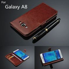 For fundas samsung a8 card holder cover case for samsung galaxy A8 leather phone case ultra thin wallet flip cover