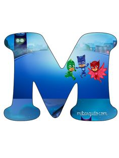 Letra-M-Pj-Masks-Abecedario-Pj-Masks-Alfabeto-Pj-Masks. Fourth Birthday, 3rd Birthday Parties, Boy Birthday, Festa Pj Masks, Homemade Birthday, Mask Party, Backrest Pillow, Paw Patrol, Dinosaur Stuffed Animal