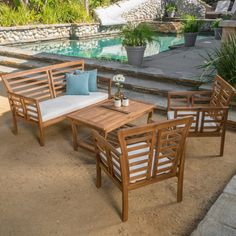 Best Selling Home Decor 296131 Langdon Outdoor 4-piece Acacia Wood Chat Set with | eBay