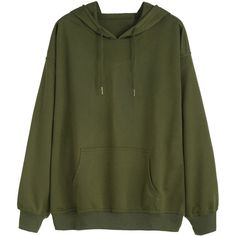 Army Green Drawstring Pocket Hooded Sweatshirt (57 PLN) ❤ liked on Polyvore featuring tops, hoodies, sweaters, jackets, outerwear, green, army green hoodie, sweater pullover, olive green hoodie and pullover hoodies