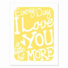 Love themed typography art print in happy sunshine yellow, inspired by the musical suggestions of a wonderfully nice customer in London. :)
