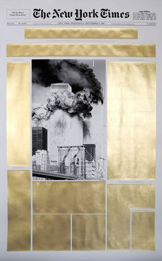 Panos Tsagaris, September 12 2001,gold leaf on archival inkjet print, 150 x 90 cm, 2016. Courtesy of the artist and Kalfayan Galleries, Athens-Thessaloniki.