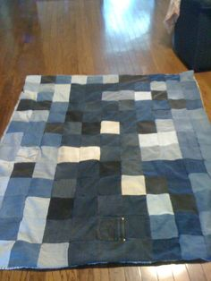 """Picnic Blanket!  Cut old jeans into 6 1/2"""" squares and sew together.  Use a Queen size Flat sheet for the back and sew together."""