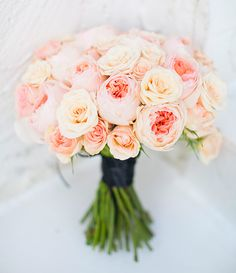 beautiful hand-tied bouquet of pale pastels, pink old fashioned roses x