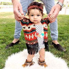07.09.15 || The perfect boho outfit for our new Limited Edition Feather Fringe Moccs from @Graciois_May  Head on over and grab yours from the Indian Summer Collection before its too late! *I am Baby Kings and I approve this message*  || Fourteen weeks  Headwrap : @itsmebritnicole (handmade)  Polkadot Romper : @mylittlewears  Baby Kimono : @bunnymoondesigns Teething Jewelry : @shopglitterandspice Feather Moccs : @gracious_may