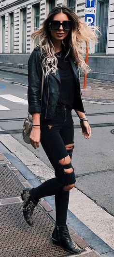 all black everything / biker jacket + sweater + rips + bag + boots
