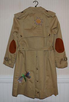 1970's Vintage Women's Handmade Long Trench Coat Rain Jacket - Stunning Detail - Size 7