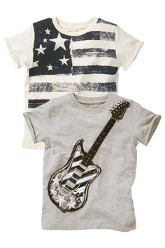 Buy Stars And Stripes T-Shirts Two Pack from the Next UK online shop Next Uk, Uk Online, Kids Boys, Kids Fashion, Baby Boy, Stripes, Tees, Mens Tops, T Shirt